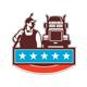 Pressure Washer Worker Truck USA Flag Retro