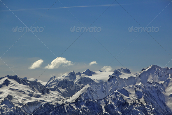 Olympic Mountains color - Stock Photo - Images