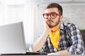 Hipster guy use laptop