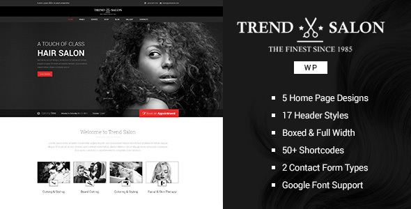 Trend Salon - WordPress Theme for Hair Style and Beauty ...