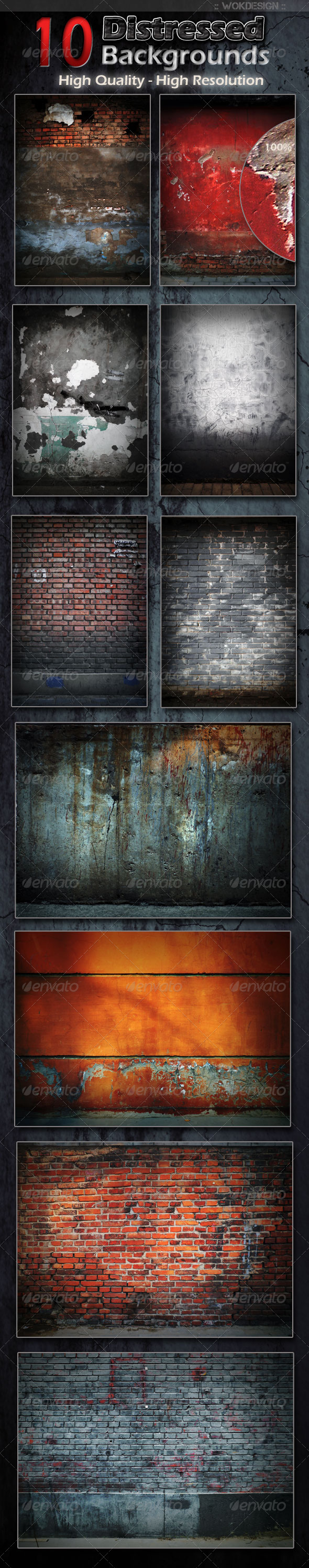 GraphicRiver 10 Distressed Backgrounds 1645413
