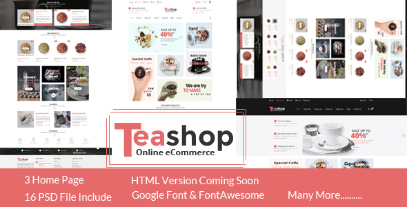 TeaShop - eCommerce PSD Template