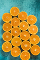 Fresh organic oranges halves fruits