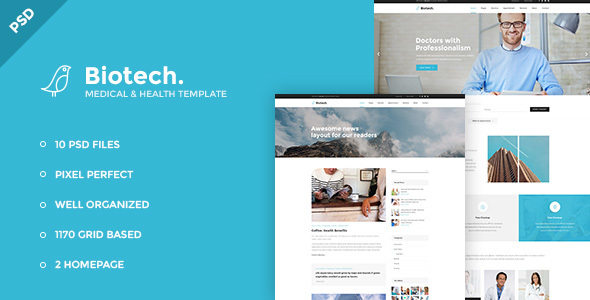 Biotech - Medical and Health PSD Template