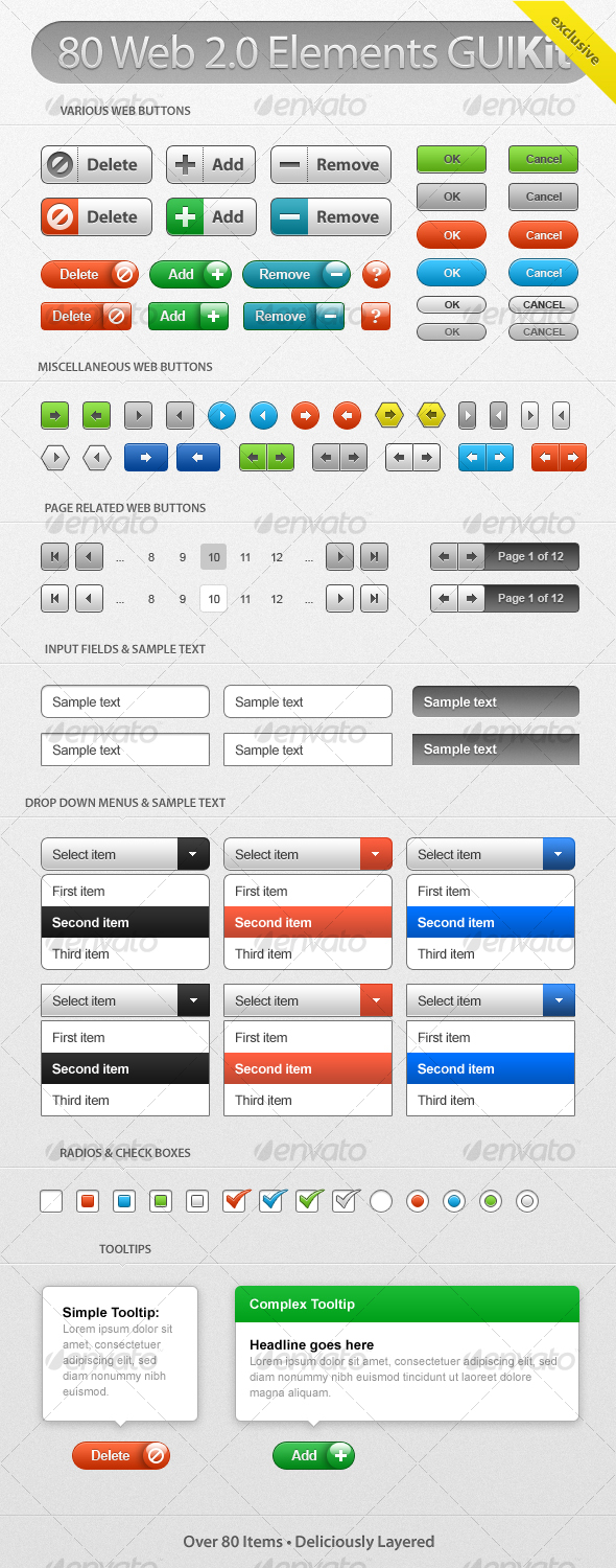 Web 2.0 GUI Kit - User Interfaces Web Elements