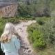 Tourist Girl Walk Near The Ancient Devil's Aqueduct