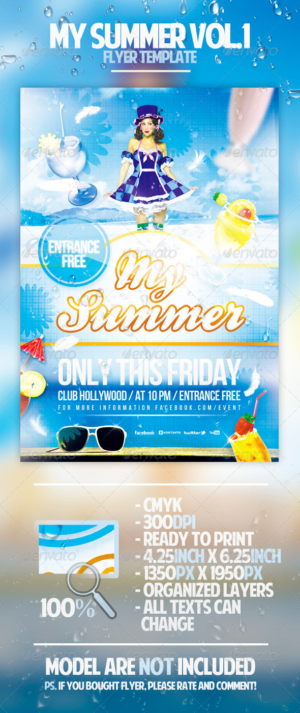 My Summer Flyer Template - Clubs & Parties Events