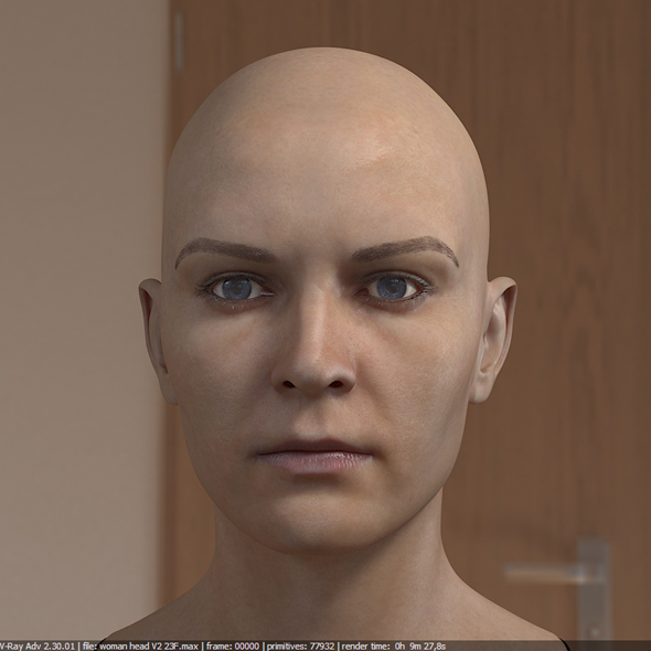 3d model woman head photorealistic female - 3DOcean Item for Sale