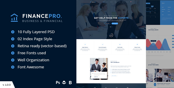 Business & Financial PSD Template - FinancePro
