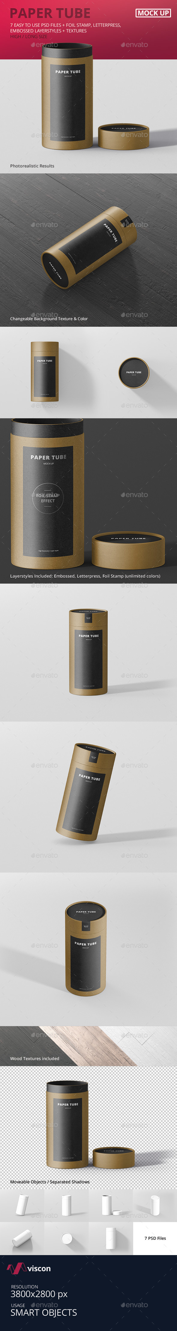 Paper Tube Packaging Mock-Up - Long / High