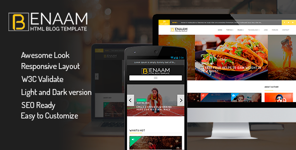 Benaam  Modern Blog / Megazine / News / Video Template