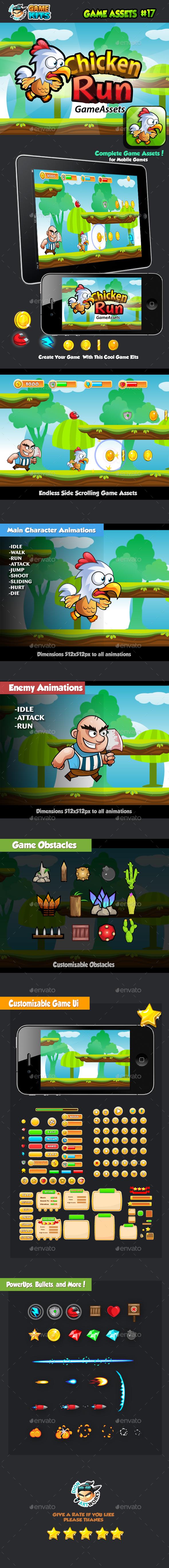 Chicken Run Platformer Game Assets 17 (Game Kits)