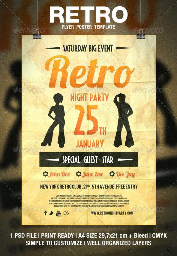 Retro Typography Flyer / Poster - Clubs & Parties Events