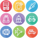 Transport Vehicle Auto Service Flat Line Icons
