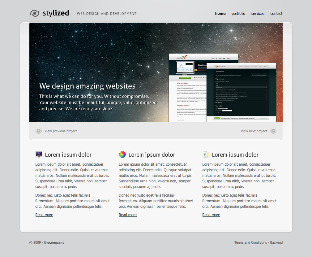stylized - This is the homepage of the stylized site. Here you can place your favourite projects into a slider. Under the slider you have a three column area to put in your services, or other info.