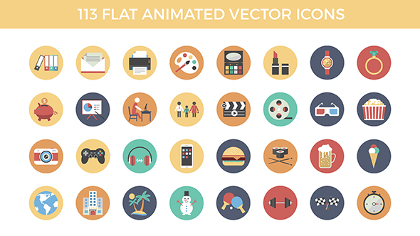 113 Flat Animated Vector Icons - Corporate Muut Elements After Effects Project Files