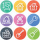 Real-Estate Building, Construction and Monument Flat Line Icons