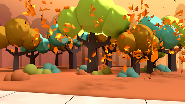 Toon Autumn Leaves Falling In The Park - 3D, Object Taustat Motion Graphics
