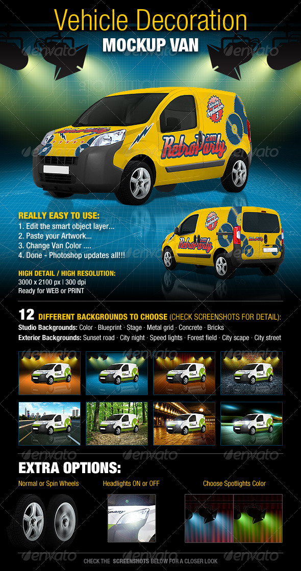 Vehicle Decoration Mock-Up Van - Vehicle Wraps Print