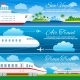 Summer Travel Horizontal Vector Banners Set
