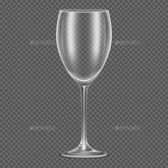 Transparent Vector Realistic Empty Wine Glass