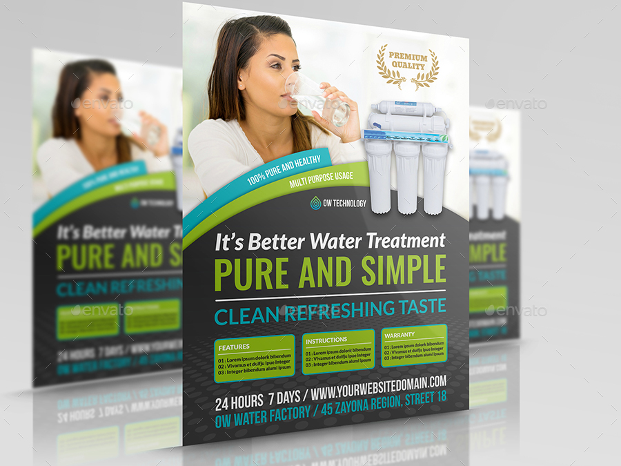 Water Treatment Services : Water treatment services flyer template by owpictures