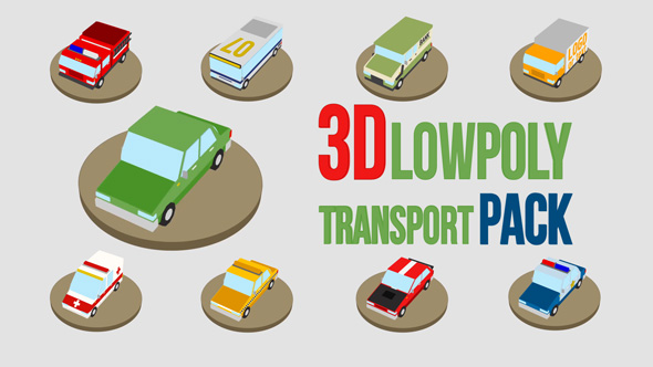 3D Alhainen Poly Transport Pack - 3D, Object Taustat Elements After Effects Project Files