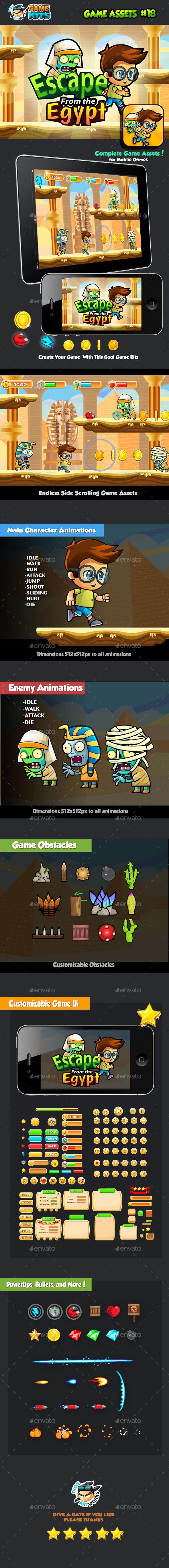 Escape From Egypt Platformer Game Assets 17 (Game Kits)