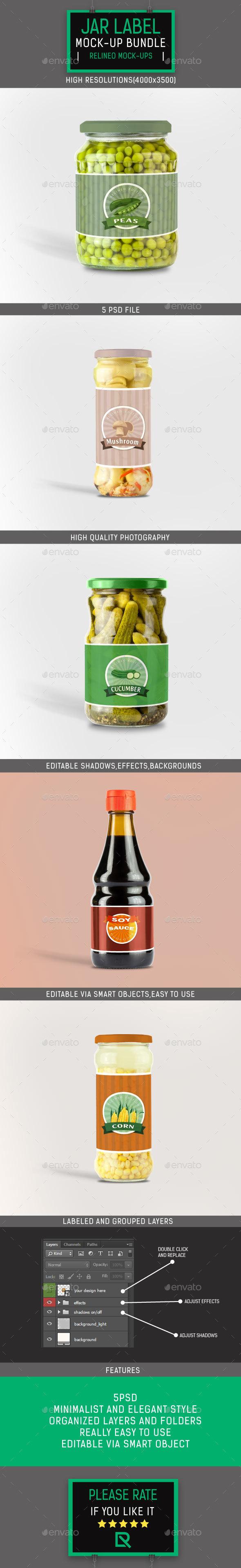 Jar Bottle Label Mock-up Bundle