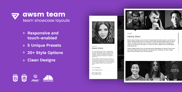 The Team - Unique Team Showcase Layout Framework - CodeCanyon Item for Sale