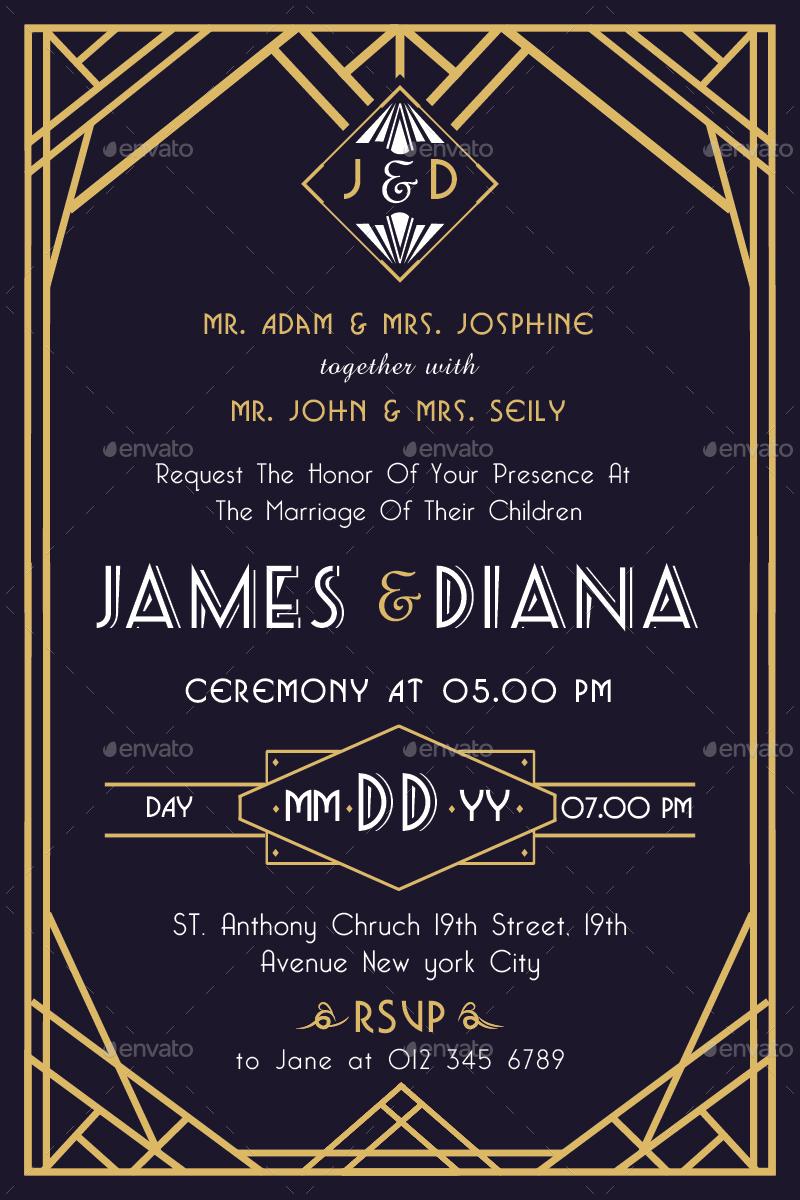 art deco wedding invitation vol. 2 by totemdesigns | graphicriver, Wedding invitations