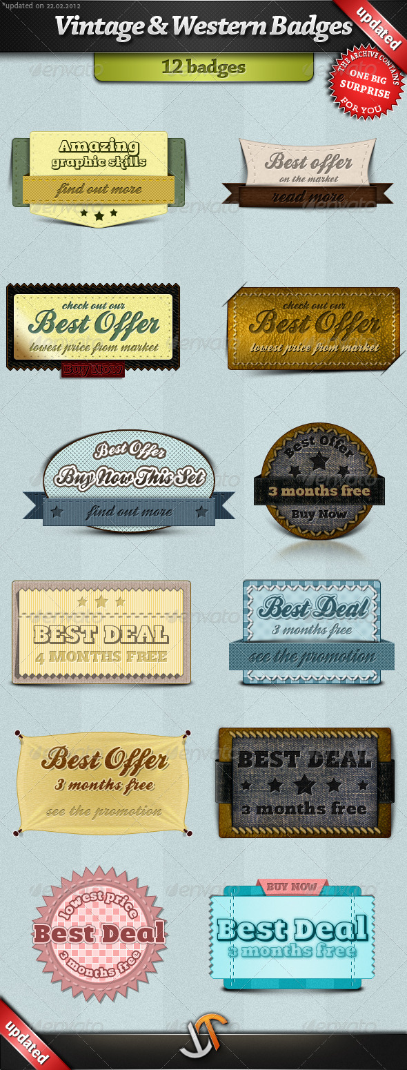 Vintage and Western Badges - Badges & Stickers Web Elements