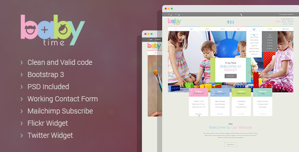 BabyTime - Babysitter, Nurse and Preschool Education HTML Template