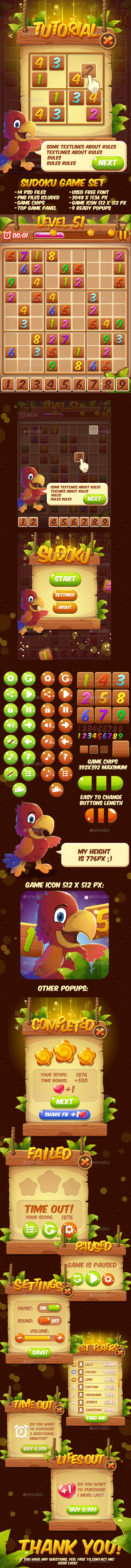 Cartoon Sudoku Puzzle Full Game Set with GUI (Game Kits)