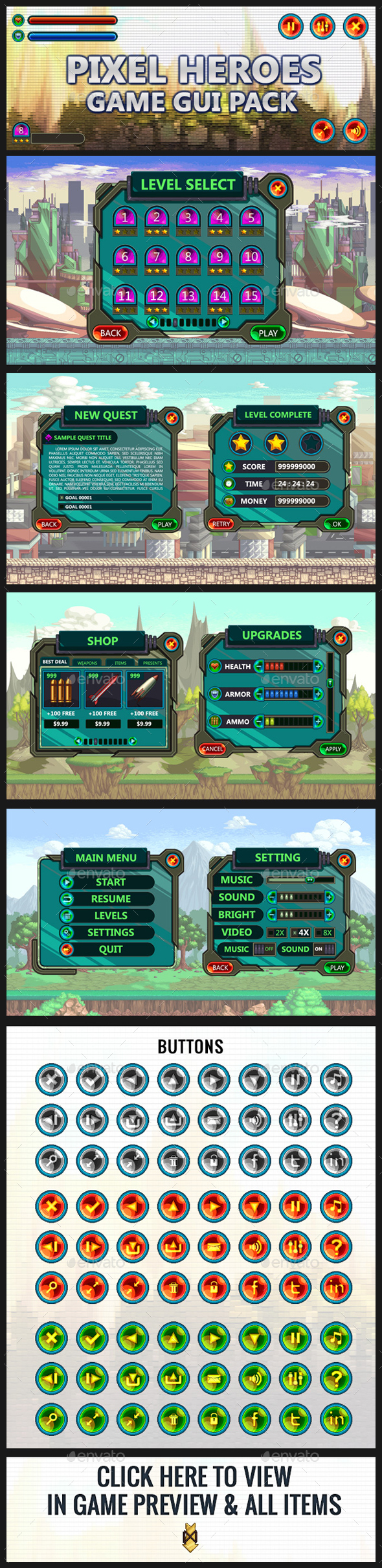 Pixel Heroes GUI Kit (User Interfaces)