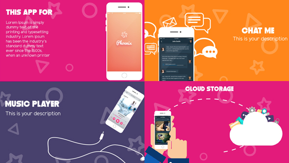 Modern & Clean App Promo Template - Mobile Näyttää Tuote Promo After Effects Project Files