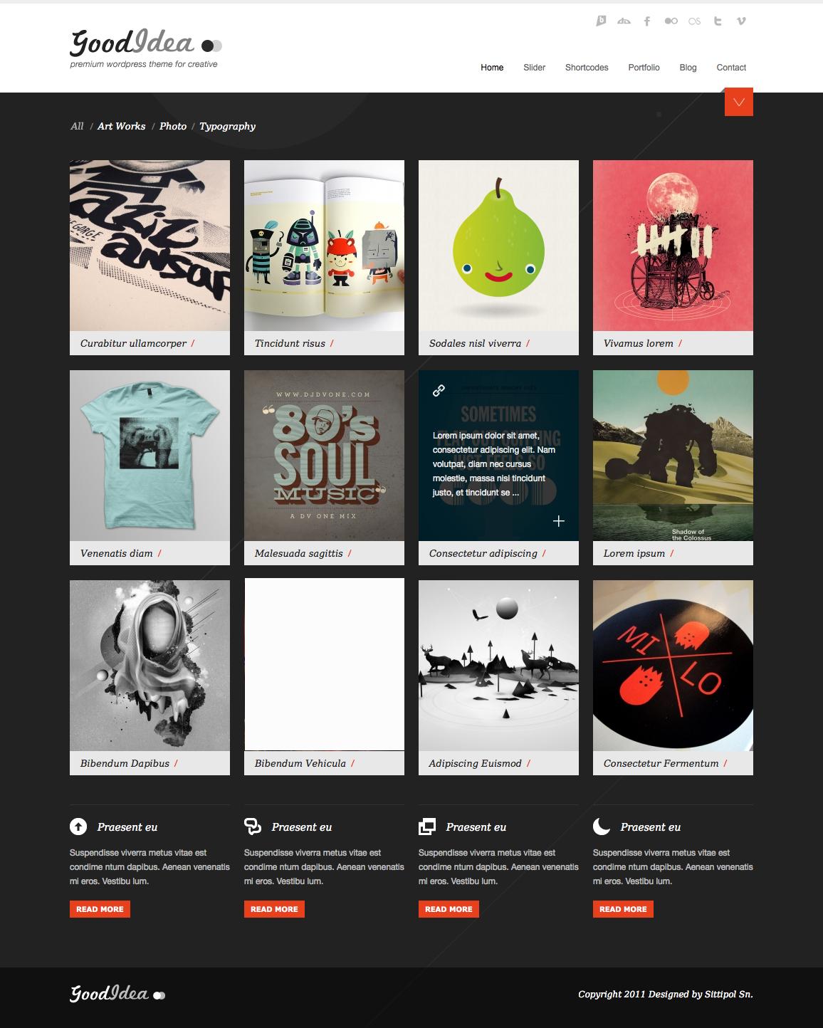 Goodidea - creative wordpress theme - homepage with dark