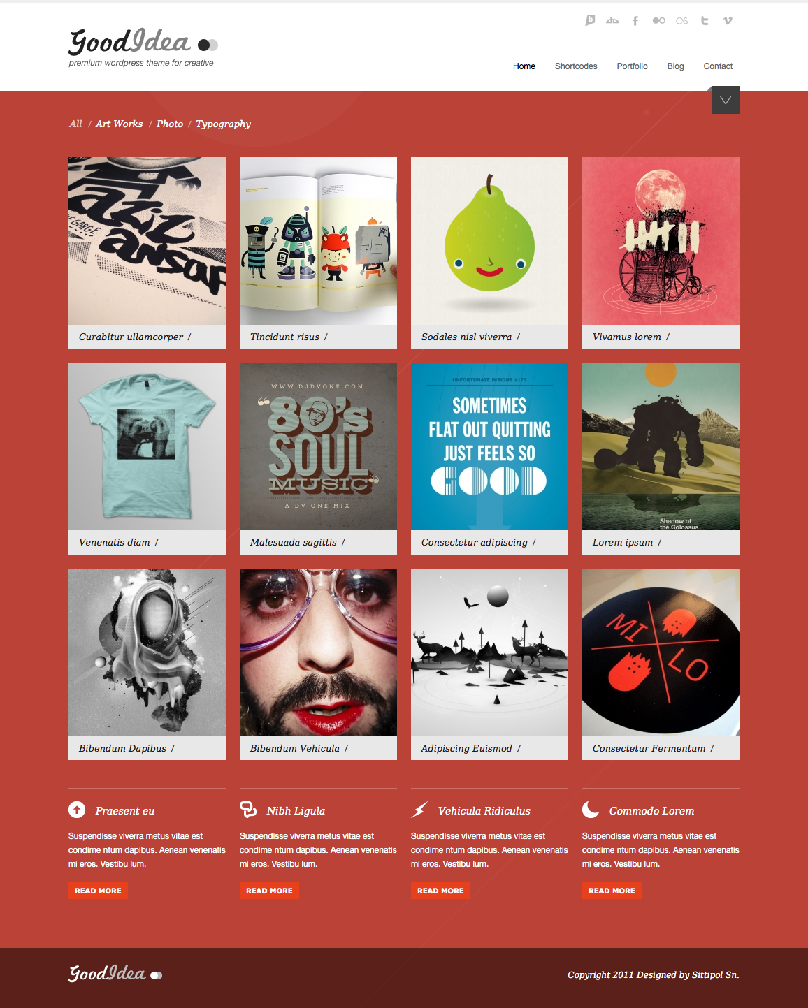 Goodidea - creative wordpress theme - homepage with red