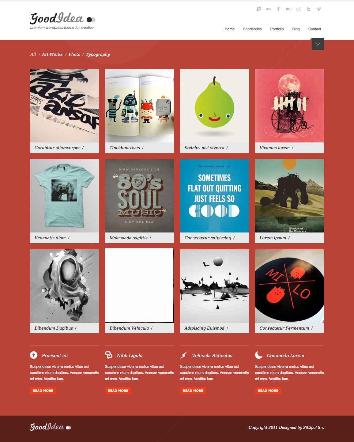 Goodidea - creative wordpress theme - homepage with orange