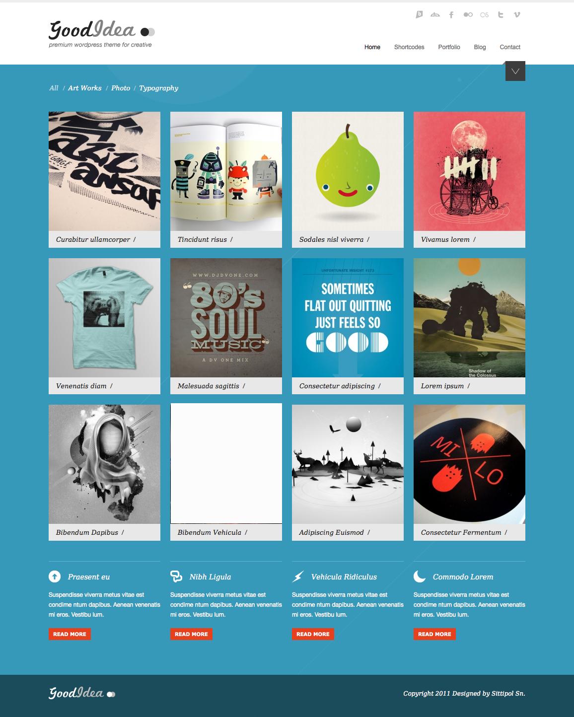 Goodidea - creative wordpress theme - homepage with blue