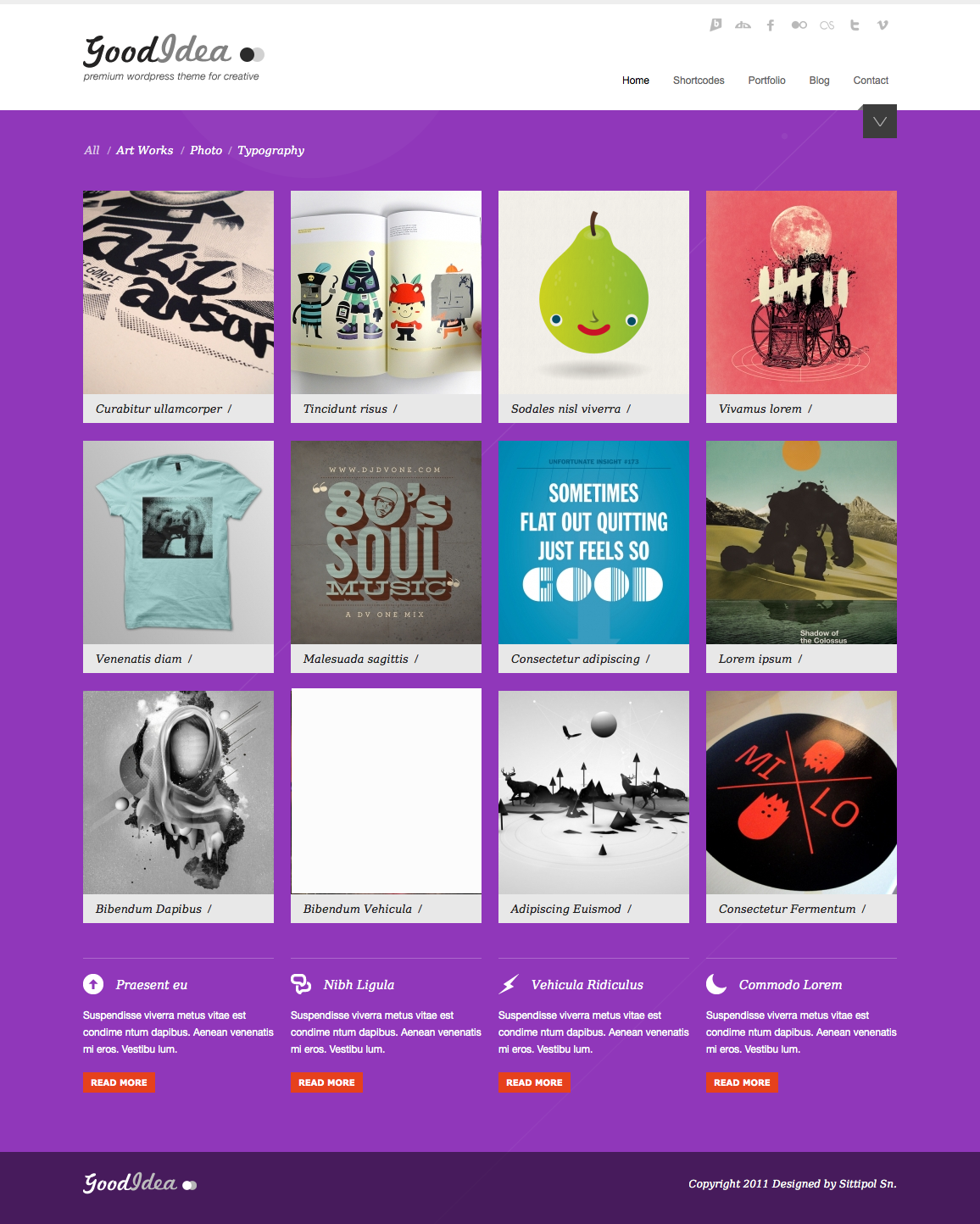 Goodidea - creative wordpress theme - homepage with purple