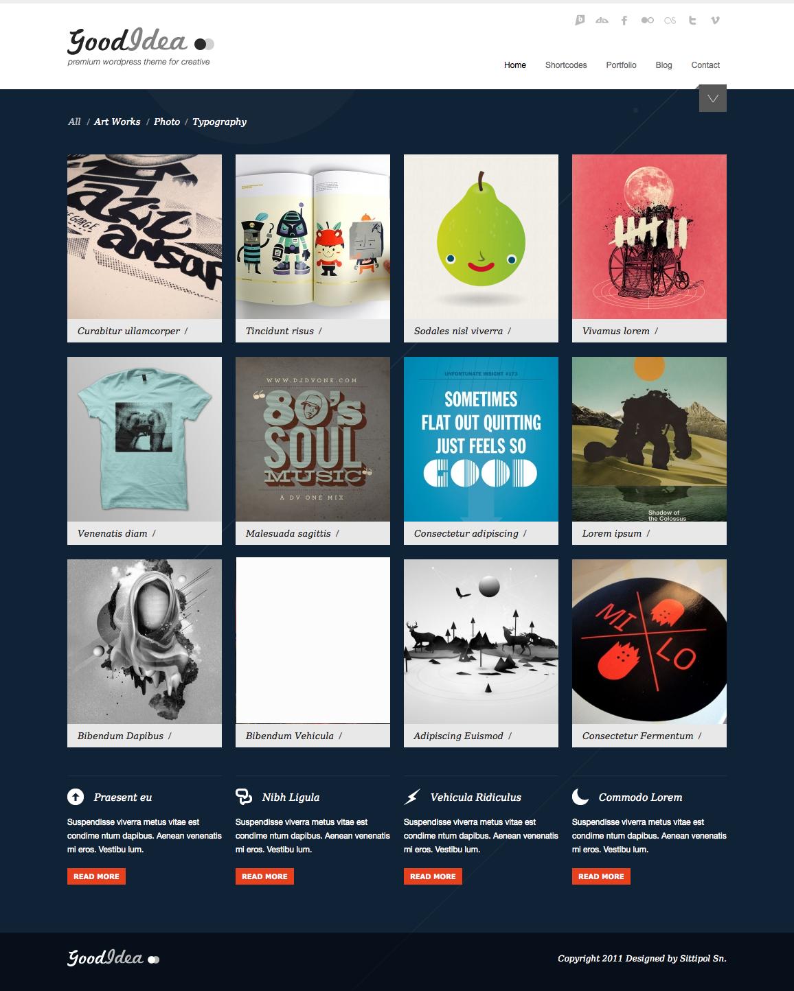 Goodidea - creative wordpress theme - homepage with blue dark