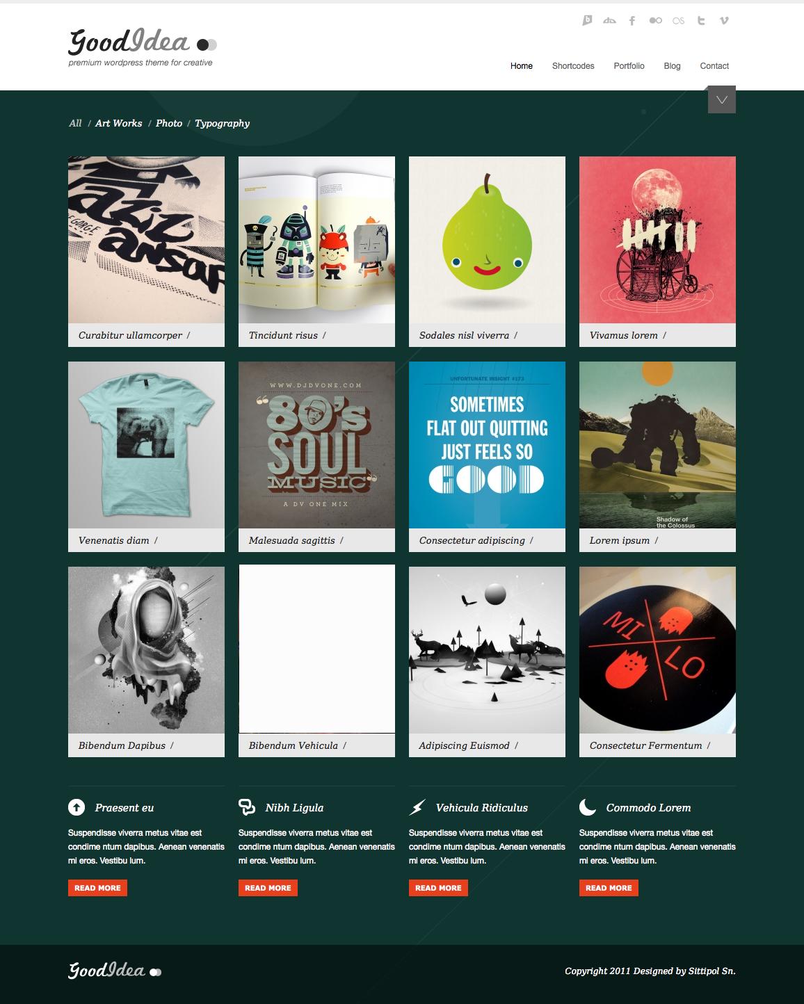 Goodidea - creative wordpress theme - homepage with green dark