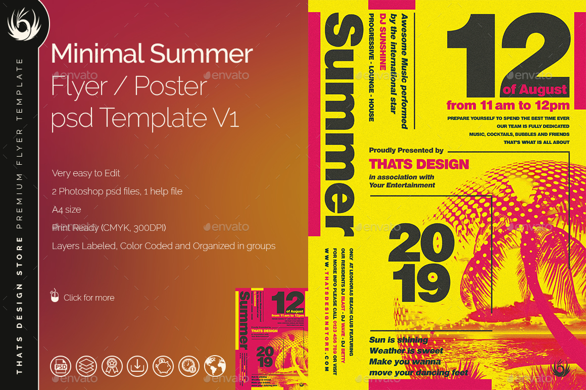 Minimal Summer Flyer Template V1 by lou606 – Summer Flyer Template