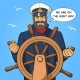 Captain and Ship Steering Wheel Pop Art Vector