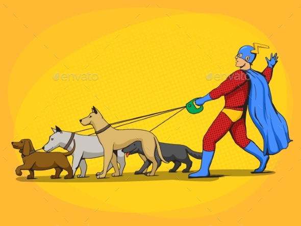 Superhero Man and Dogs Comic Book