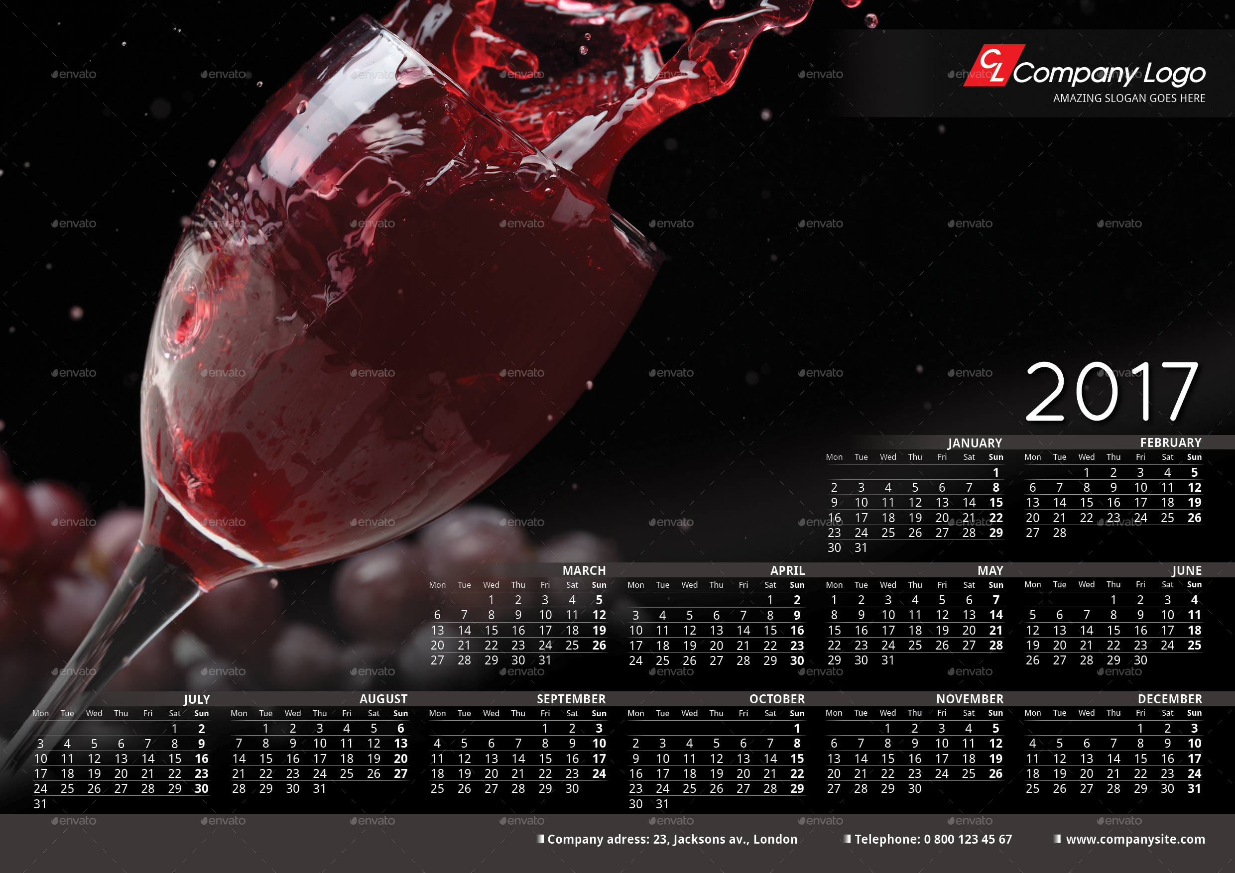 Download 2017 calendar psd