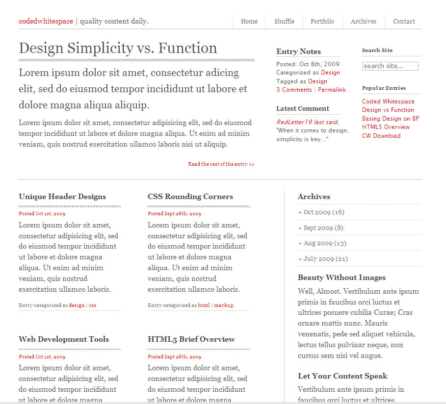 Coded Whitespace v1  HTML/CSS - I. Index