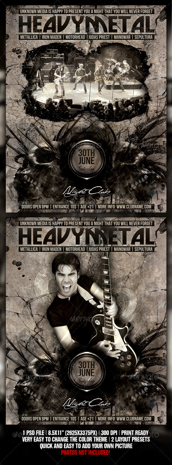 GraphicRiver Heavy Metal Night Club Party Concert Flyer 592494