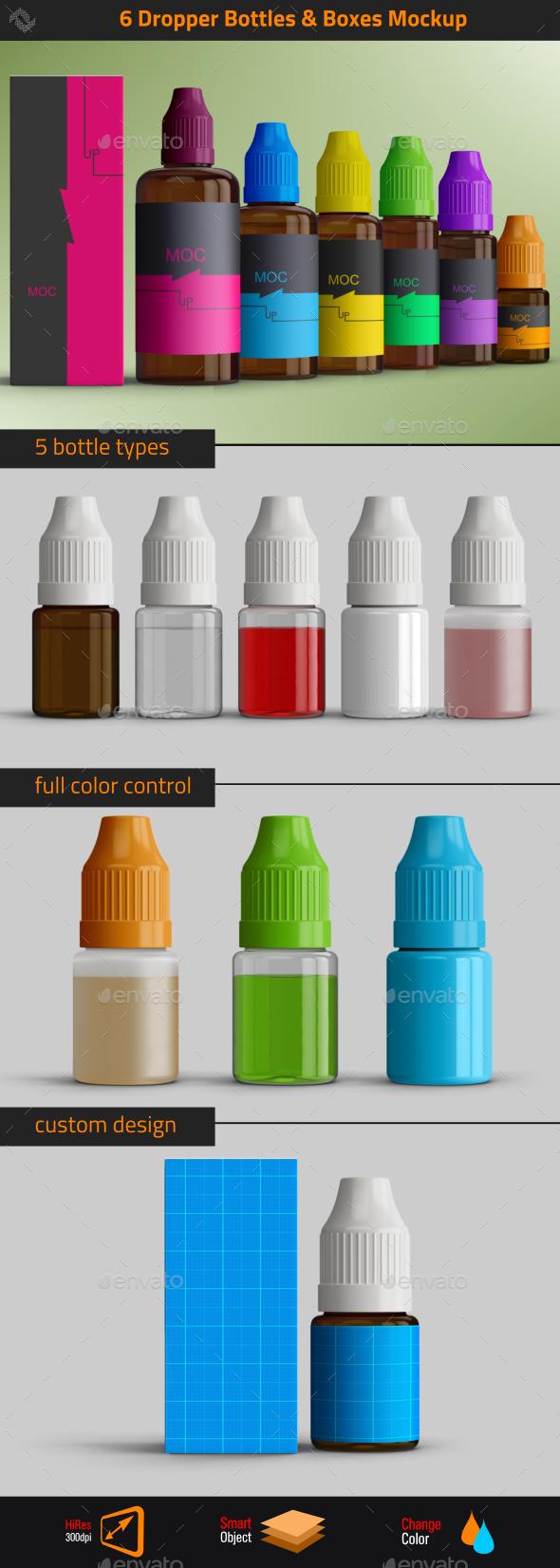 6 Dropper Bottles Mockup